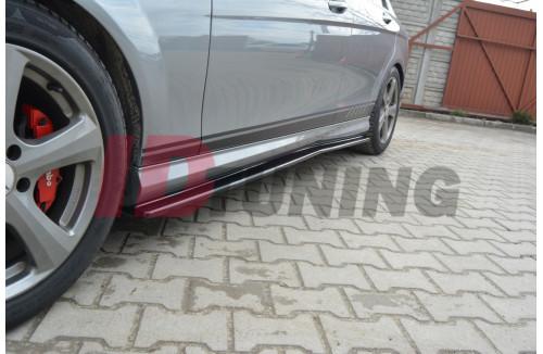 Накладки на пороги Mercedes C W204 AMG-Line Дорестайл