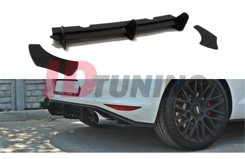 Накладка на бампер + комплект сплиттеров задних Volkswagen Golf MK7 GTI