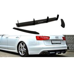 Накладка на бампер задний + комплект сплиттеров Audi A6 C7 S-Line AVANT (2.0 TDI)