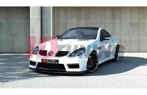 Бампер передний + боковые решетки + LED лампы + сетка + сплиттер Mercedes SLK R171 (AMG172 look)