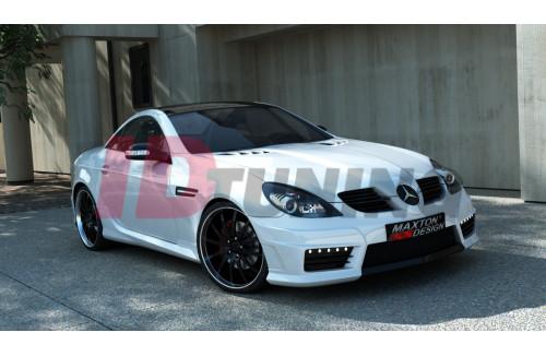 Бампер передний + боковые решеьки + LED лампы + сетка Mercedes SLK R171 (AMG172 look)